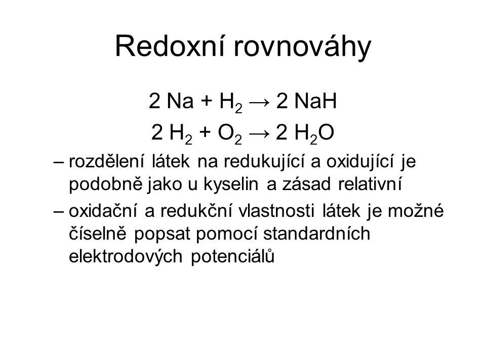 Redoxní rovnováhy 2 Na + H2 → 2 NaH 2 H2 + O2 → 2 H2O