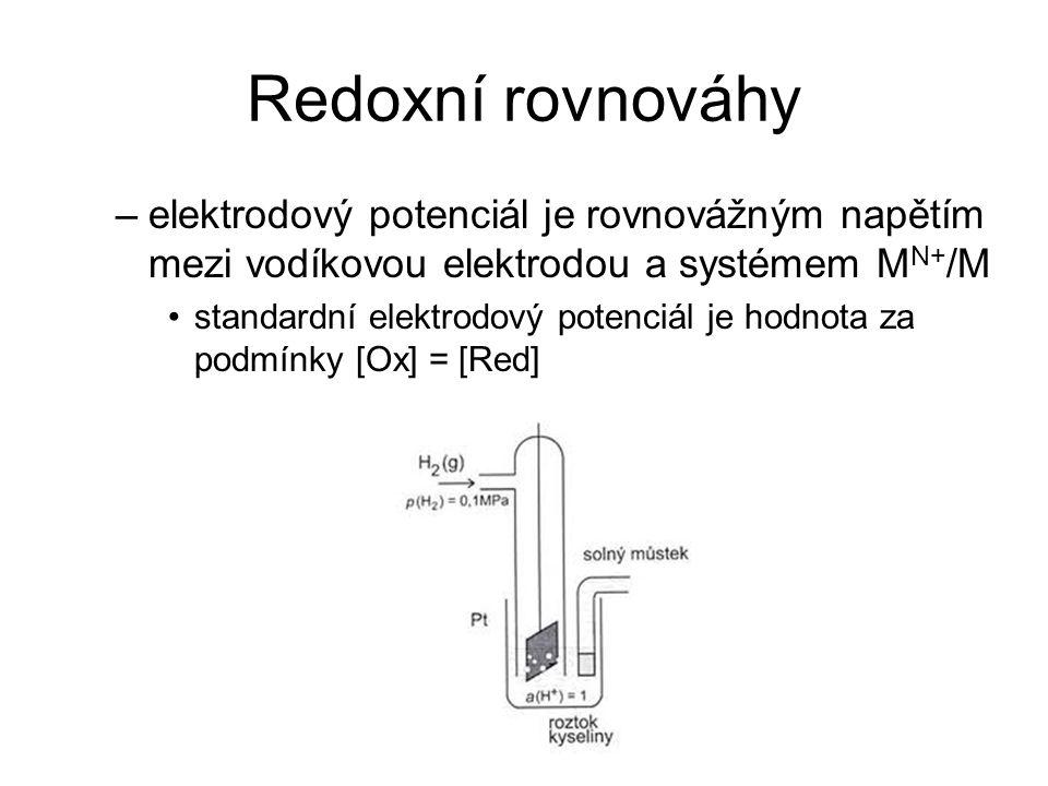Redoxní rovnováhy elektrodový potenciál je rovnovážným napětím mezi vodíkovou elektrodou a systémem MN+/M.