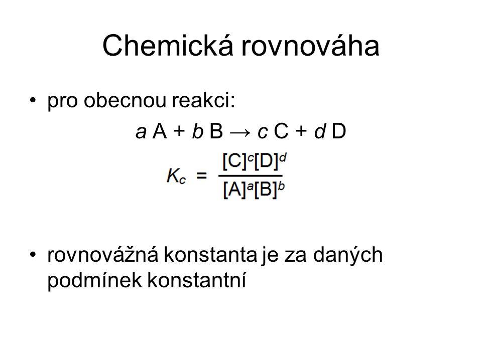 Chemická rovnováha pro obecnou reakci: a A + b B → c C + d D