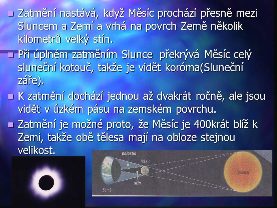 Zatmění nastává, když Měsíc prochází přesně mezi Sluncem a Zemí a vrhá na povrch Země několik kilometrů velký stín.
