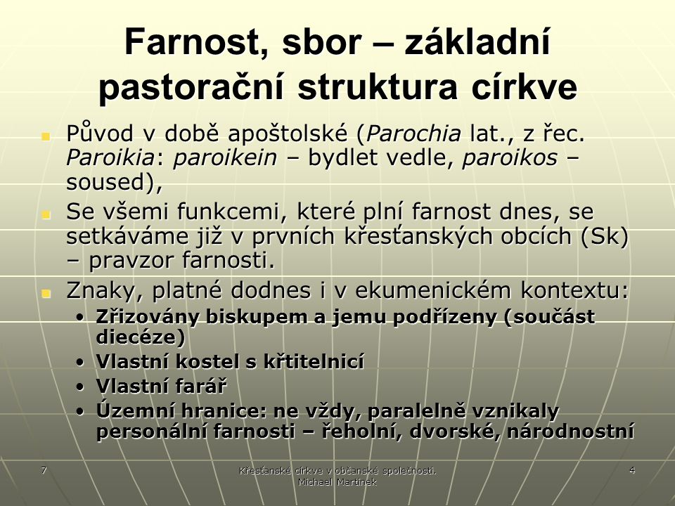 Farnost, sbor – základní pastorační struktura církve