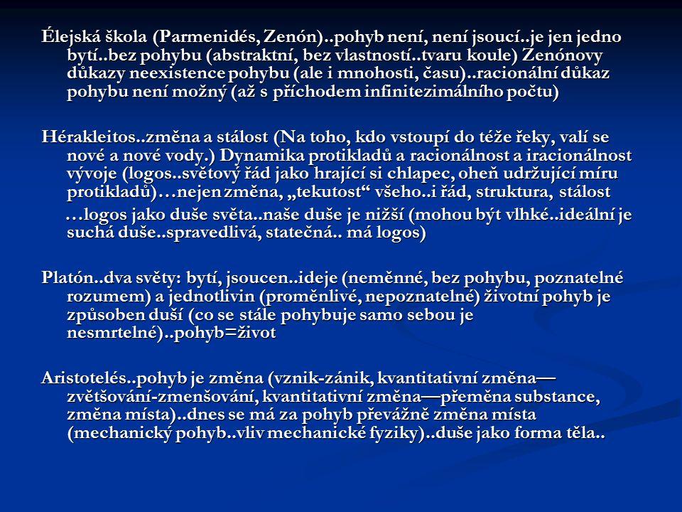 Élejská škola (Parmenidés, Zenón). pohyb není, není jsoucí