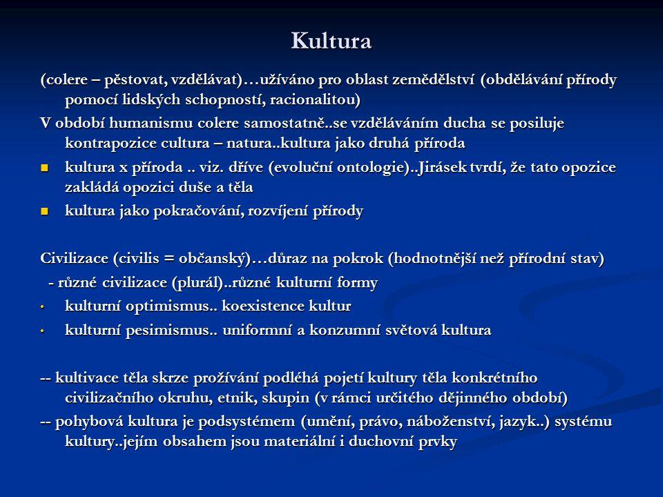 Kultura (colere – pěstovat, vzdělávat)…užíváno pro oblast zemědělství (obdělávání přírody pomocí lidských schopností, racionalitou)