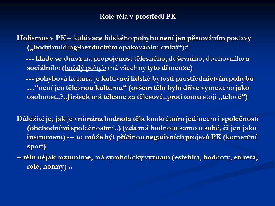 Role těla v prostředí PK