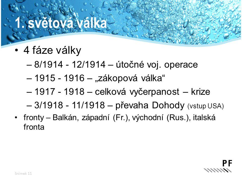 1. světová válka 4 fáze války 8/1914 - 12/1914 – útočné voj. operace
