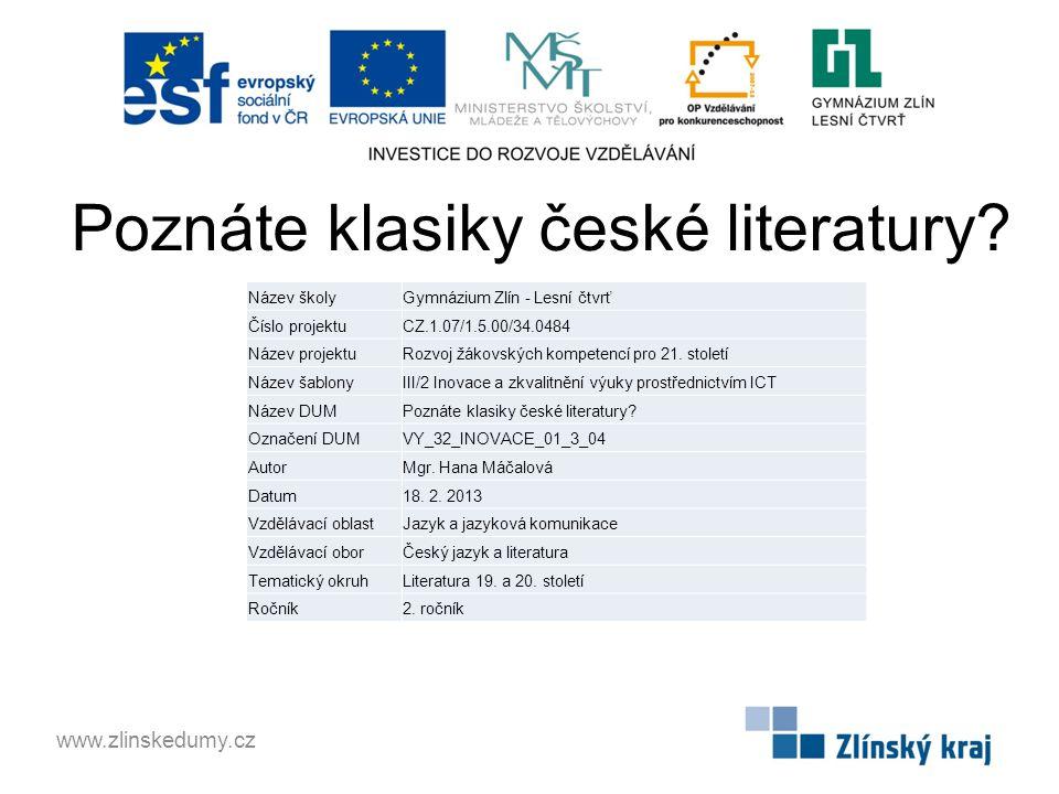 Poznáte klasiky české literatury