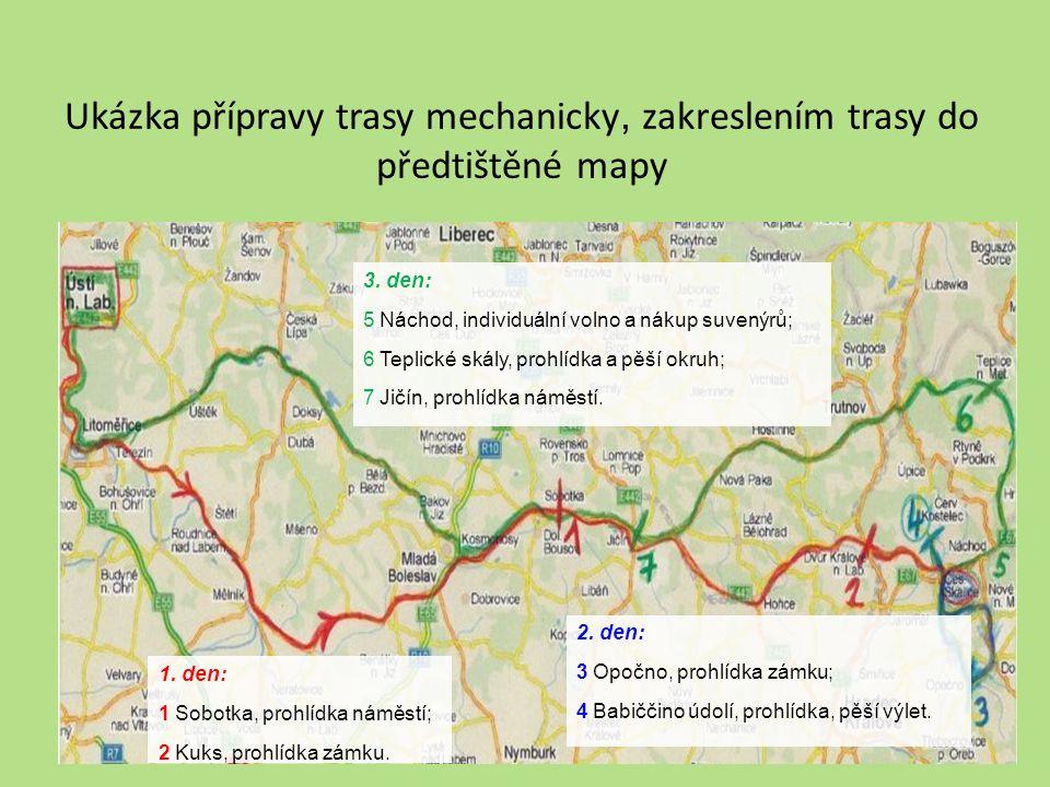 Ukázka přípravy trasy mechanicky, zakreslením trasy do předtištěné mapy