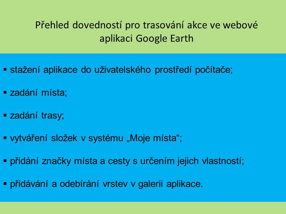 Přehled dovedností pro trasování akce ve webové aplikaci Google Earth