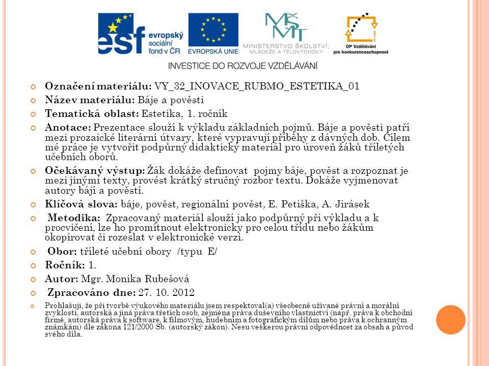 Označení materiálu: VY_32_INOVACE_RUBMO_ESTETIKA_01