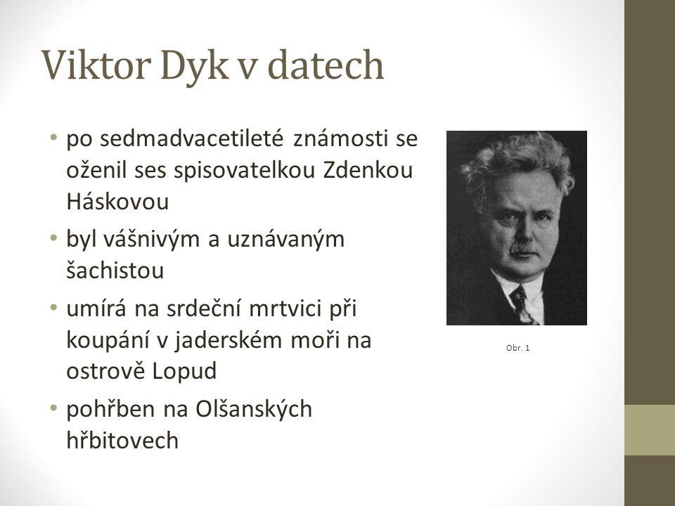 Viktor Dyk v datech po sedmadvacetileté známosti se oženil ses spisovatelkou Zdenkou Háskovou. byl vášnivým a uznávaným šachistou.