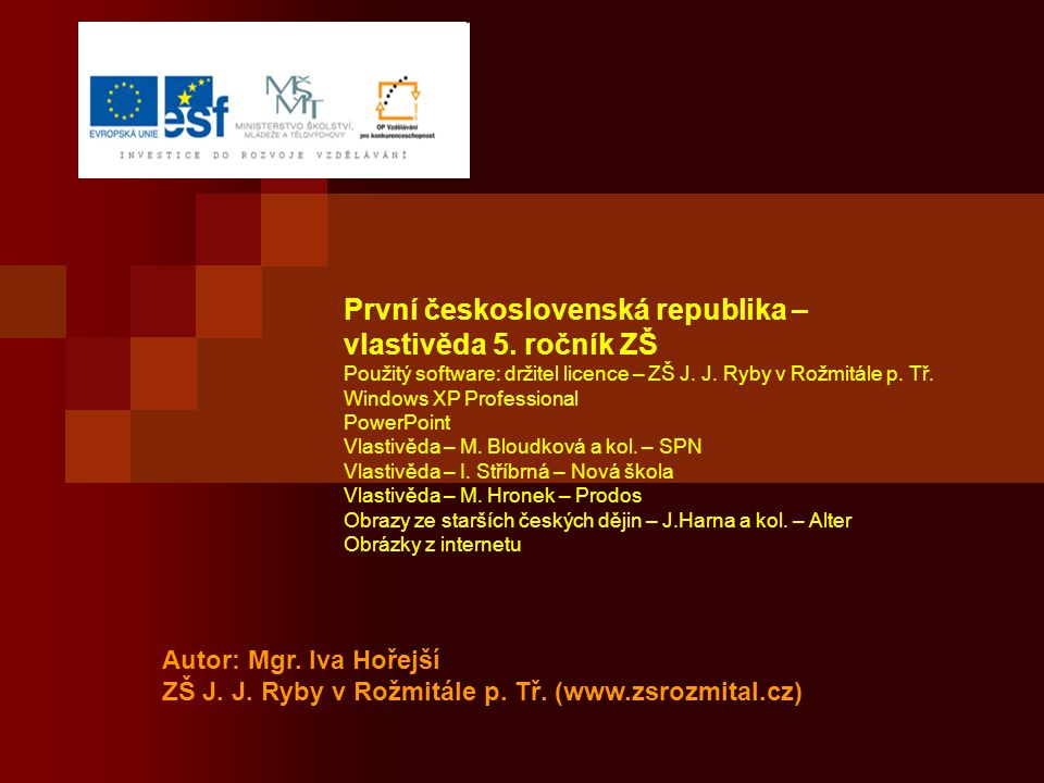 První československá republika – vlastivěda 5