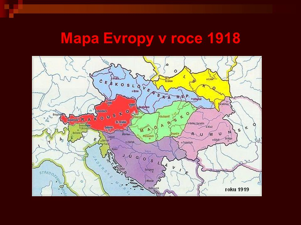 Mapa Evropy v roce 1918