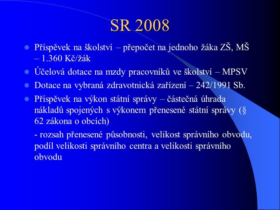 SR 2008 Příspěvek na školství – přepočet na jednoho žáka ZŠ, MŠ – 1.360 Kč/žák. Účelová dotace na mzdy pracovníků ve školství – MPSV.