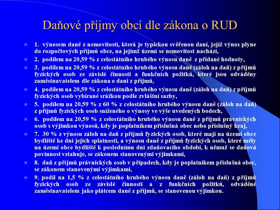 Daňové příjmy obcí dle zákona o RUD