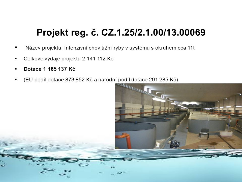 Projekt reg. č. CZ.1.25/2.1.00/13.00069 Název projektu: Intenzivní chov tržní ryby v systému s okruhem cca 11t.