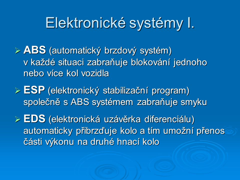 Elektronické systémy I.