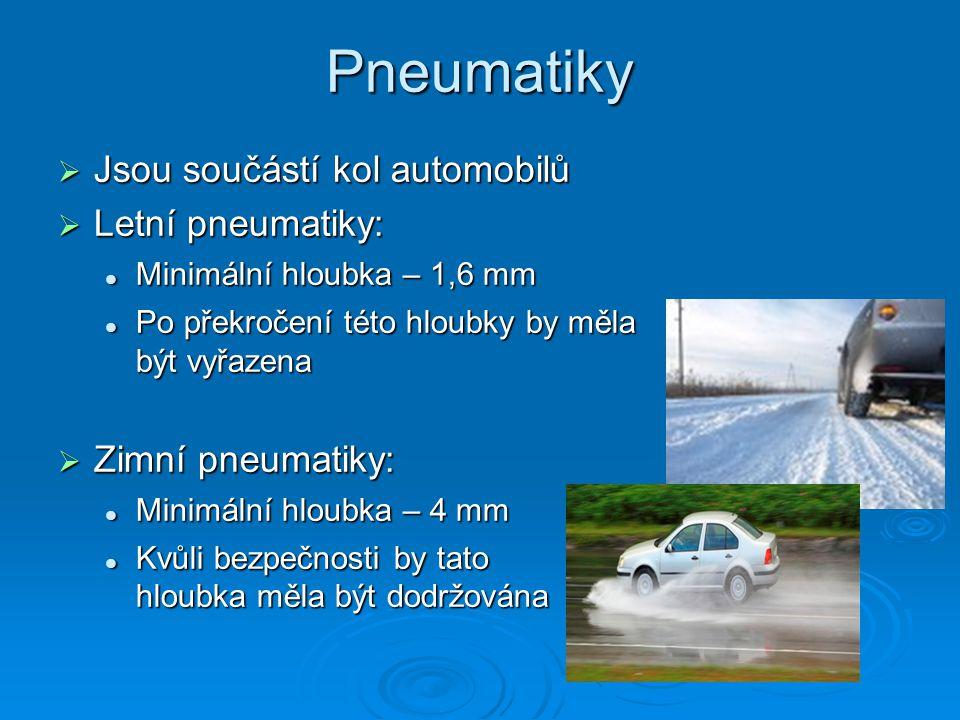 Pneumatiky Jsou součástí kol automobilů Letní pneumatiky: