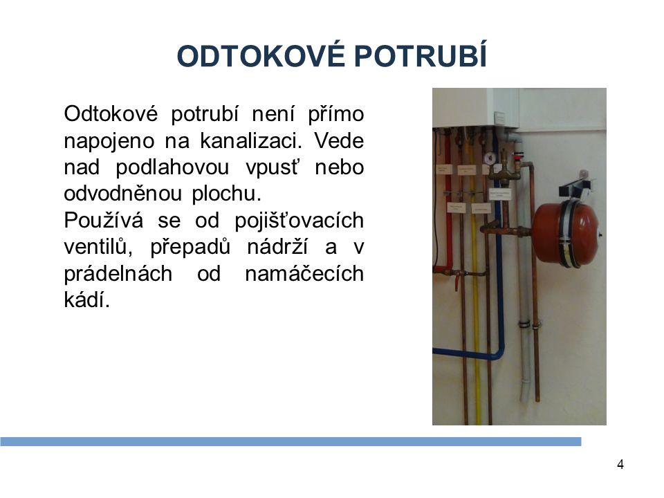 Zdroje ODTOKOVÉ POTRUBÍ. Odtokové potrubí není přímo napojeno na kanalizaci. Vede nad podlahovou vpusť nebo odvodněnou plochu.