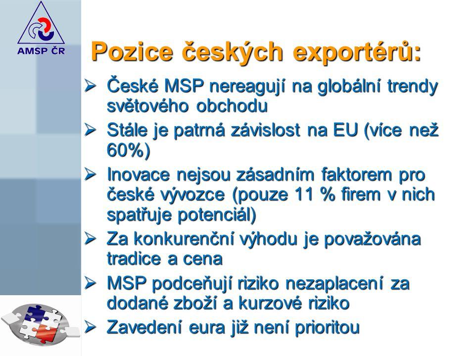 Pozice českých exportérů: