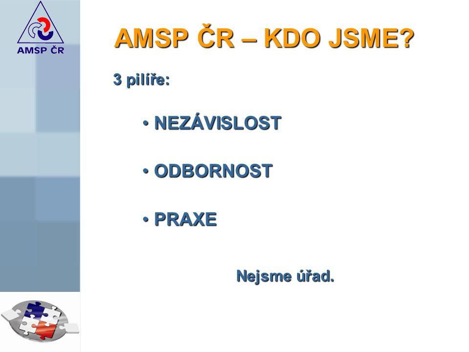 AMSP ČR – KDO JSME 3 pilíře: NEZÁVISLOST ODBORNOST PRAXE Nejsme úřad.