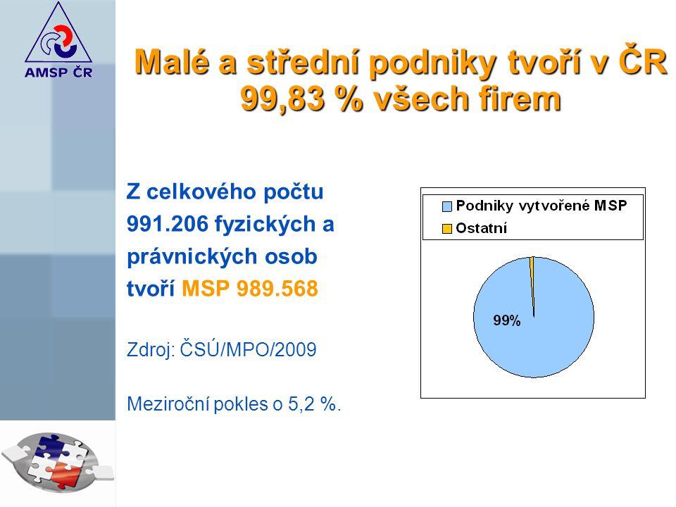 Malé a střední podniky tvoří v ČR 99,83 % všech firem