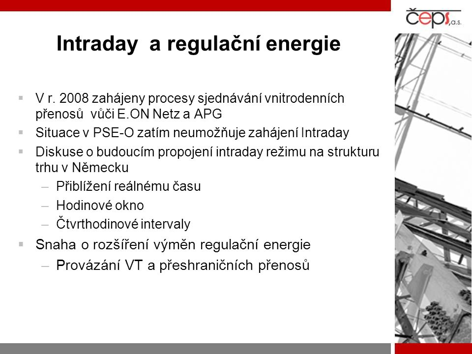 Intraday a regulační energie