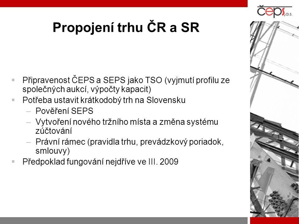 Propojení trhu ČR a SR Připravenost ČEPS a SEPS jako TSO (vyjmutí profilu ze společných aukcí, výpočty kapacit)