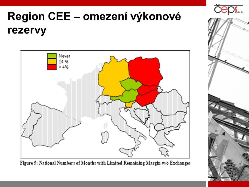 Region CEE – omezení výkonové rezervy