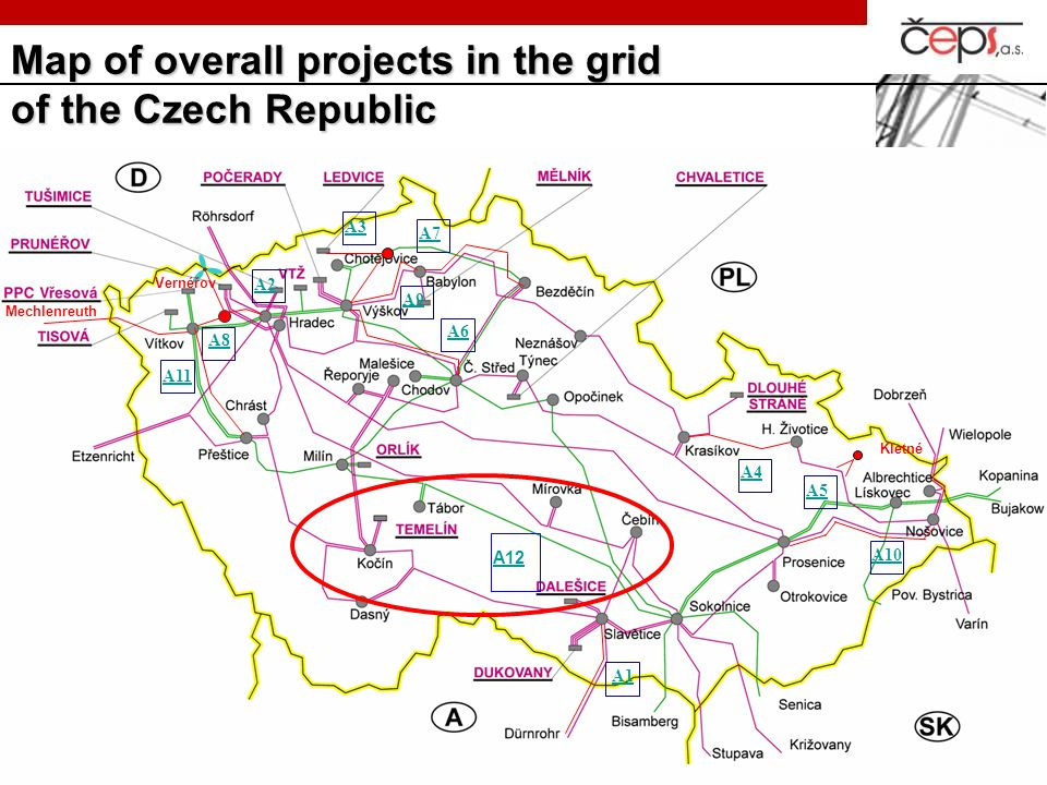 Map of overall projects in the grid of the Czech Republic