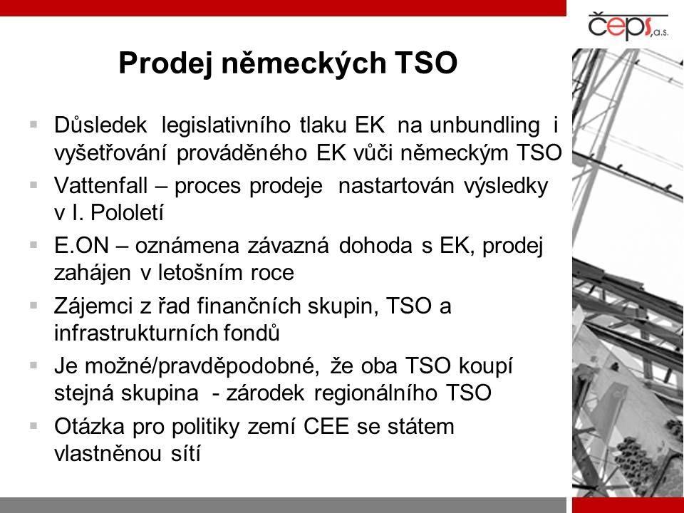 Prodej německých TSO Důsledek legislativního tlaku EK na unbundling i vyšetřování prováděného EK vůči německým TSO.