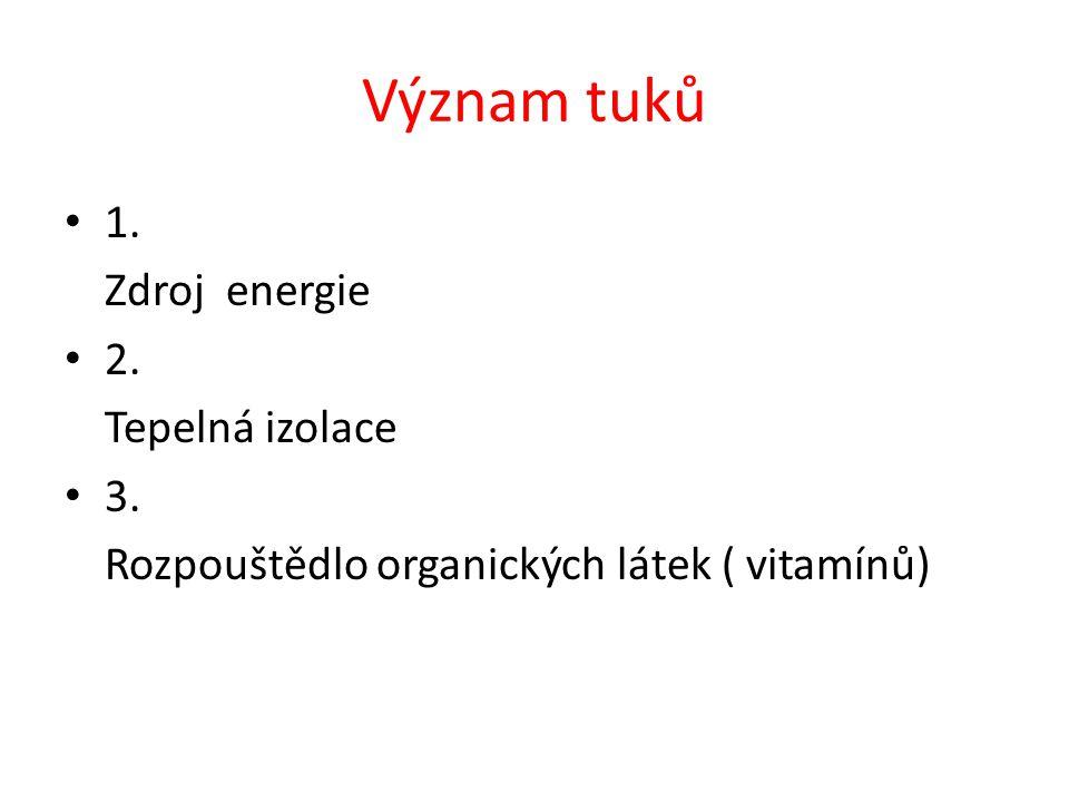 Význam tuků 1. Zdroj energie 2. Tepelná izolace 3.