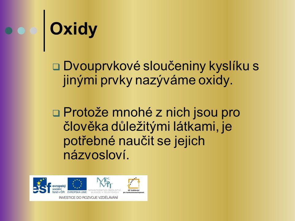 Oxidy Dvouprvkové sloučeniny kyslíku s jinými prvky nazýváme oxidy.