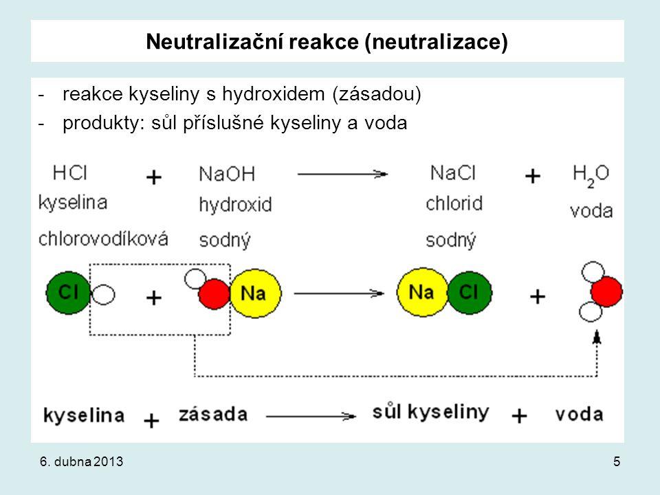 Neutralizační reakce (neutralizace)