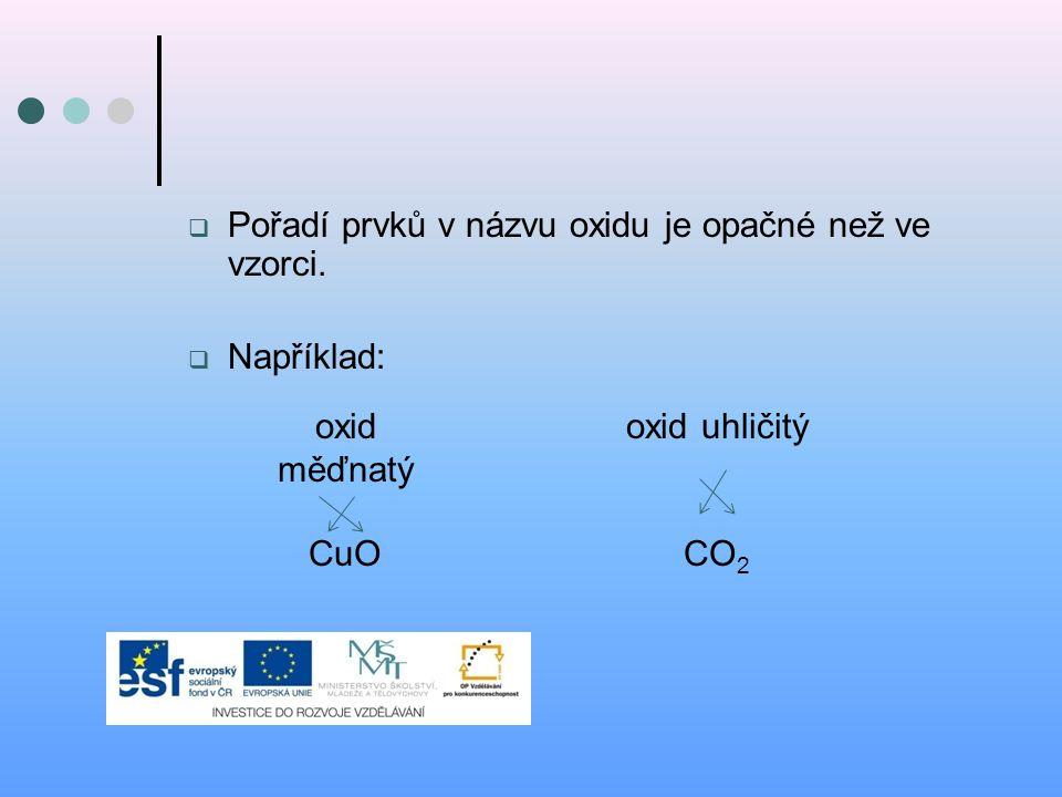 Pořadí prvků v názvu oxidu je opačné než ve vzorci.