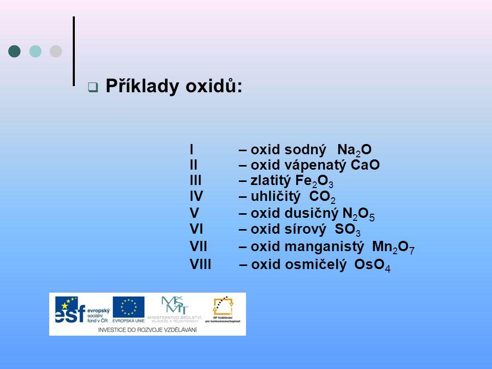 Příklady oxidů: I – oxid sodný Na2O II – oxid vápenatý CaO