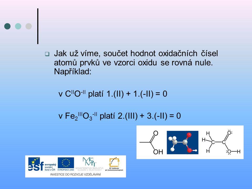 Jak už víme, součet hodnot oxidačních čísel atomů prvků ve vzorci oxidu se rovná nule. Například: