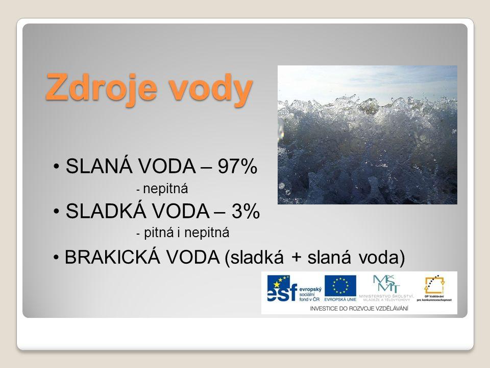 Zdroje vody • BRAKICKÁ VODA (sladká + slaná voda) • SLANÁ VODA – 97%