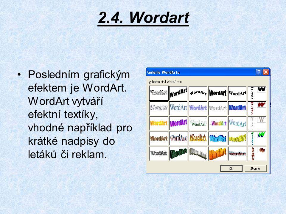 2.4. Wordart Posledním grafickým efektem je WordArt.