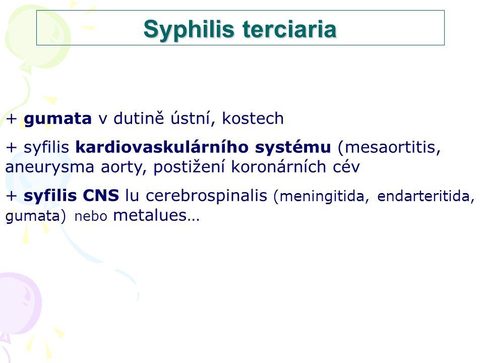 Syphilis terciaria + gumata v dutině ústní, kostech