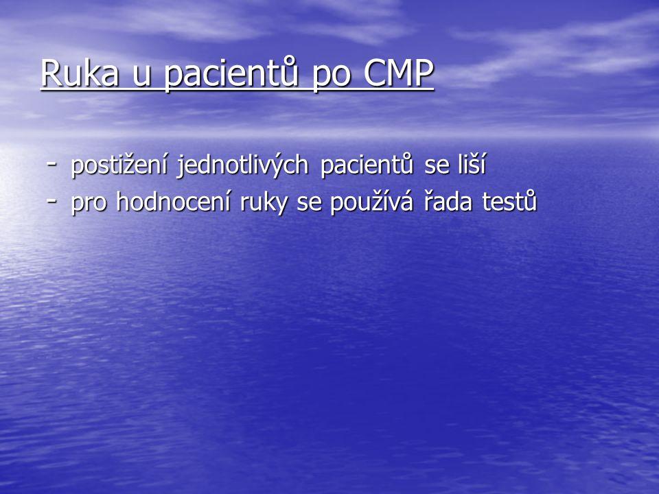 Ruka u pacientů po CMP postižení jednotlivých pacientů se liší