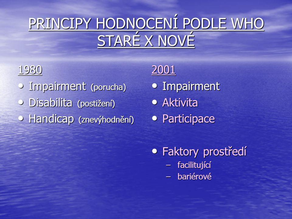 PRINCIPY HODNOCENÍ PODLE WHO STARÉ X NOVÉ