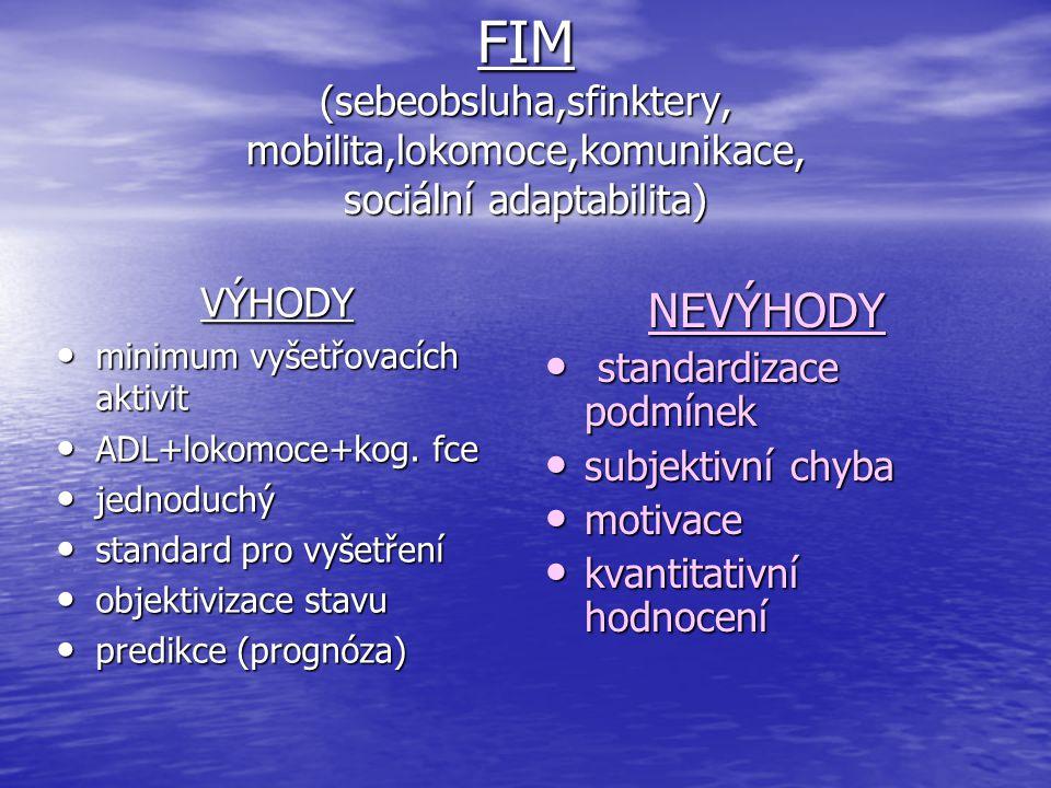 FIM (sebeobsluha,sfinktery, mobilita,lokomoce,komunikace, sociální adaptabilita)