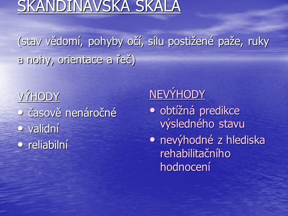 SKANDINÁVSKÁ ŠKÁLA (stav vědomí, pohyby očí, sílu postižené paže, ruky a nohy, orientace a řeč)