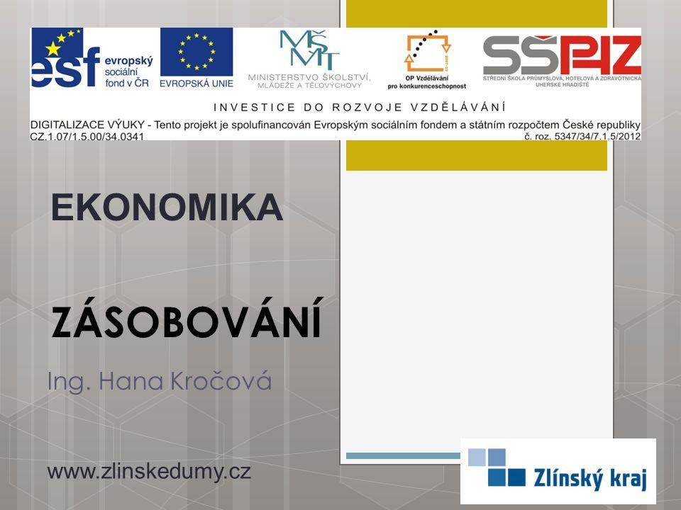EKONOMIKA ZÁSOBOVÁNÍ Ing. Hana Kročová www.zlinskedumy.cz