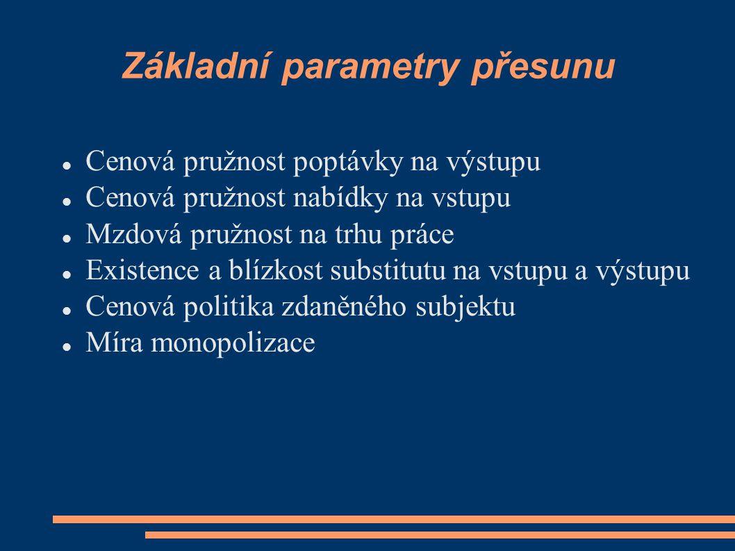 Základní parametry přesunu