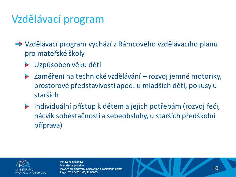 Vzdělávací program Vzdělávací program vychází z Rámcového vzdělávacího plánu pro mateřské školy. Uzpůsoben věku dětí.