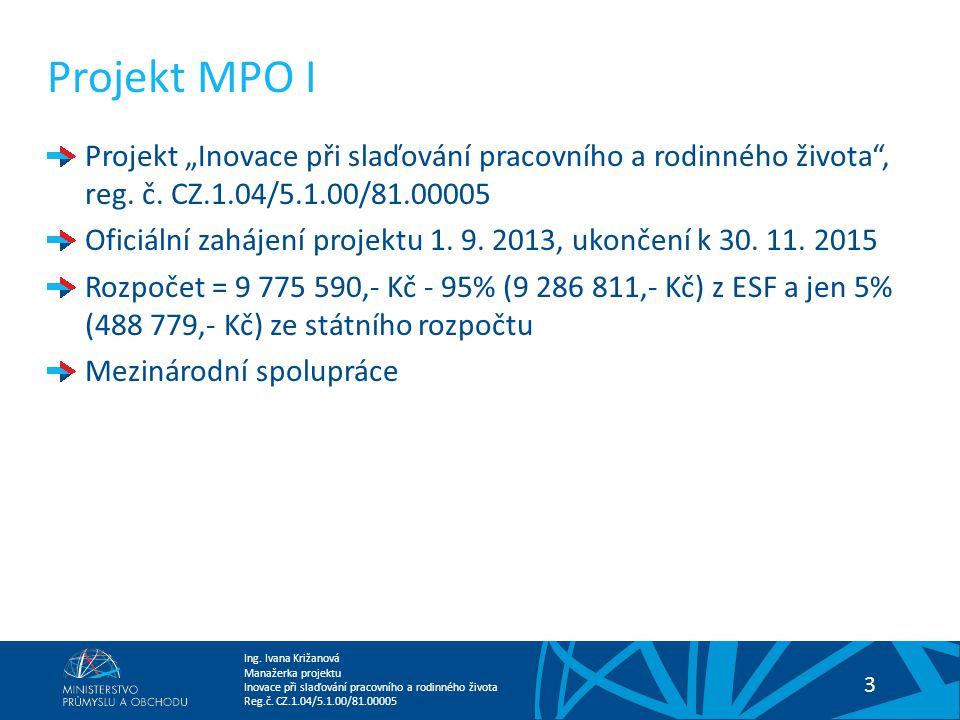 """Projekt MPO I Projekt """"Inovace při slaďování pracovního a rodinného života , reg. č. CZ.1.04/5.1.00/81.00005."""