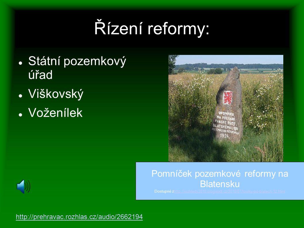 Pomníček pozemkové reformy na Blatensku