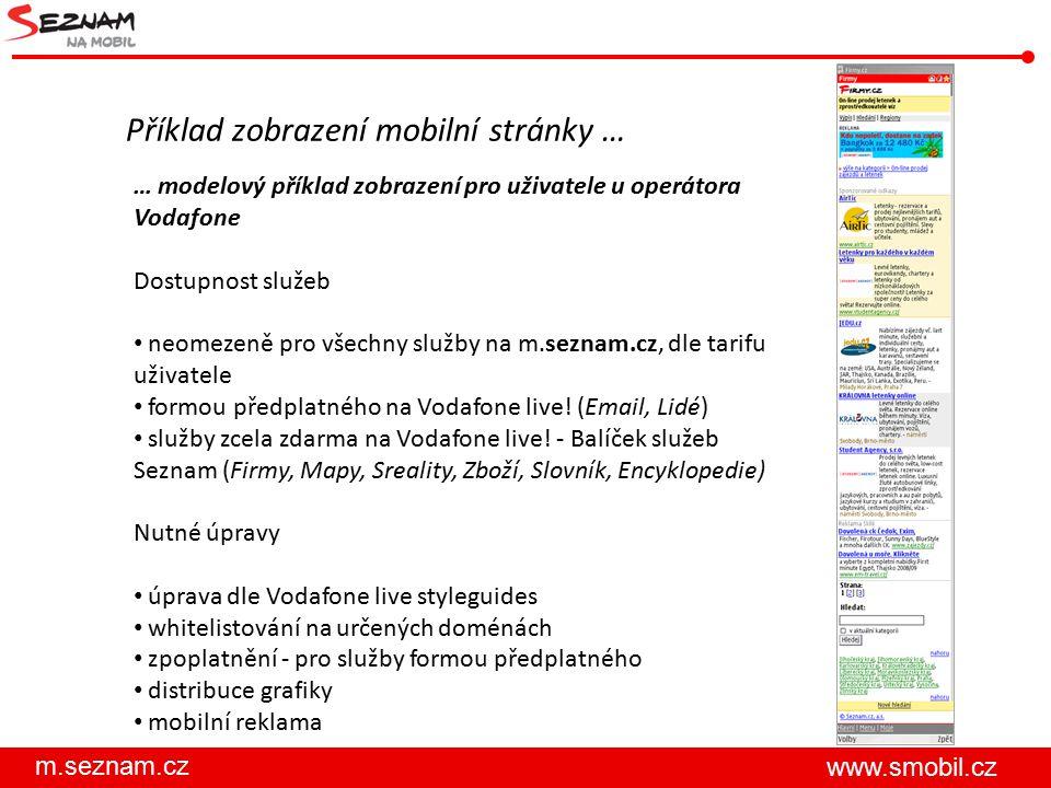 Příklad zobrazení mobilní stránky …