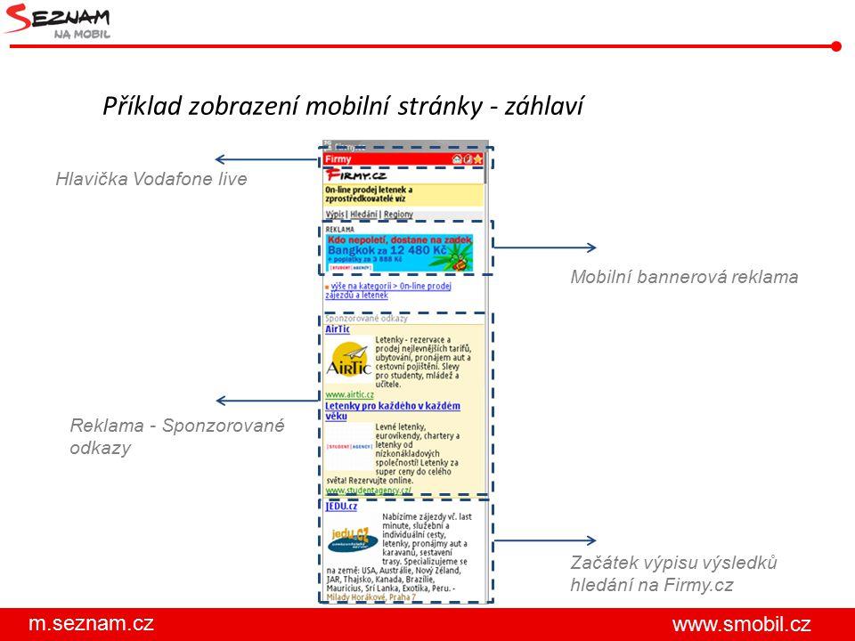 Příklad zobrazení mobilní stránky - záhlaví